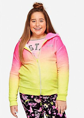 Justice Girls OMBRE Fuzzy Hoodie Size 20 Plus New with Tags