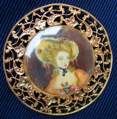 FRENCH ANTIQUE HAND PAINTED MINIATURE PORTRAIT OF LADY BROOCH 19th century