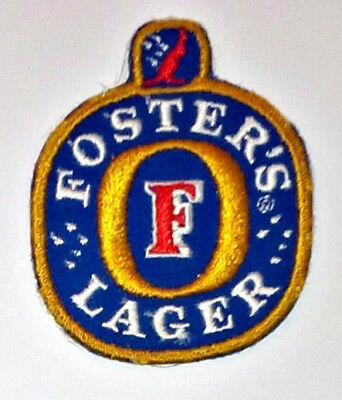 """VINTAGE FOSTER'S LAGER BEER 2.5"""" x 3"""" INCH EMBROIDERED LOGO PATCH"""