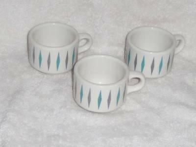 3 Vintage Homer Laughlin Best China Restaurant Ware Coffee Cups Mugs