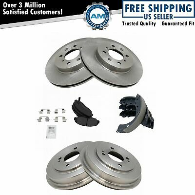 Front /& Rear Posi Ceramic Disc Brake Pads Shoes Drums /& Rotor Kit Set for Smart