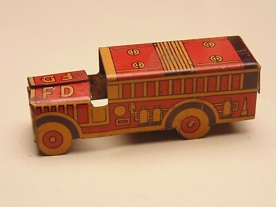 1930's CRACKER JACK Toy Tin Litho Fire Truck