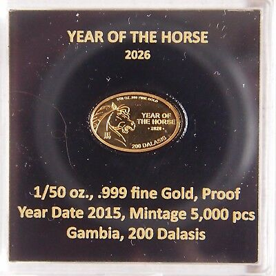 Goldmünze Gambia 200 Dalasis 2015 Yeae of the Horse 2026 pp