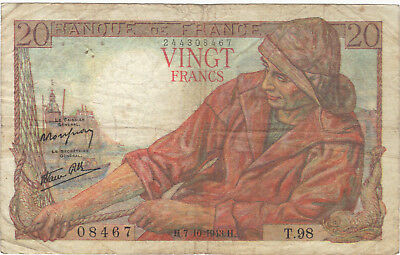 1943 20 Francs France French Currency Banknote Note Money Bank Bill Cash Wwii