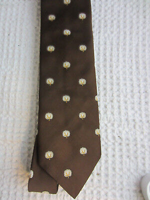 vintage brown Terelene cotton boll necktie Alfred's of Memphis
