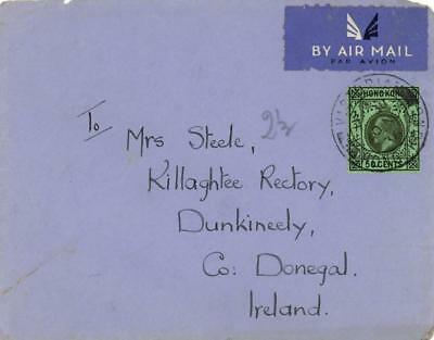 HONG KONG 1936 AIRMAIL COVER VICTORIA to IRELAND 50c  USED via IMPERIAL AIRWAYS