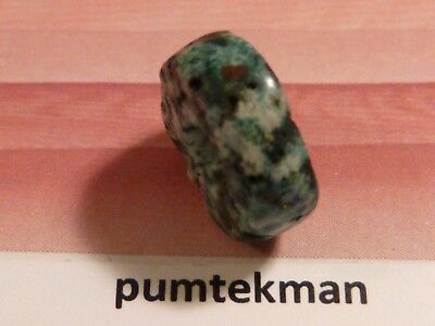 ANCIENT PRE-COLUMBIAN GORGEOUS BLUE GREEN ALBITE DISC BEAD 12 BY 5 MM pumtekman