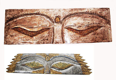 LARGE BUDDHA FACE TEAK WOOD WALL PLAQUE DECOR ART SILVER hand-carved new