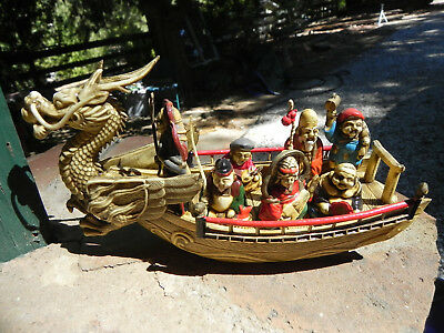 Japanese Celluloid Dragon Boat W/lucky Gods Vintage Piece