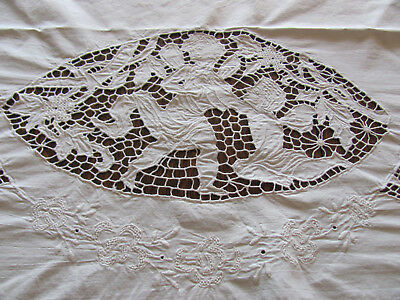 SUPERB ~Antique HND-MD 20s APPENZELL CUTWORK Italy PILLOW-MANTEL Cover w/CHERUBS