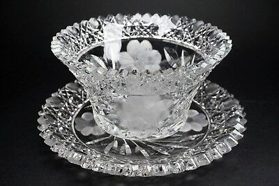 ABP Cut Glass American Brilliant Period Bowl w/ Matching Under Plate