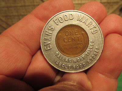 Encased Cent Good Luck Advertising Coin Token 1954 D Evans Food Marts Dallas TX