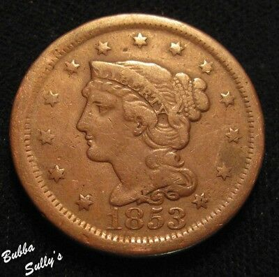 1853 Braided Hair Large Cent <> FINE