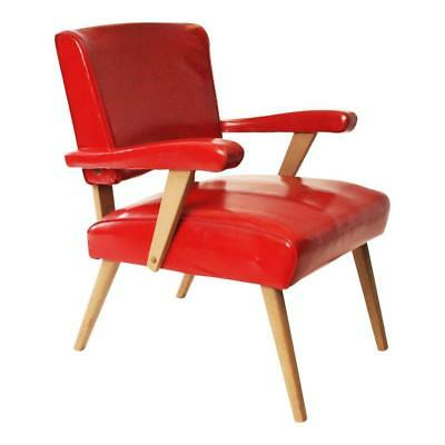 Mid Century Modern Slipper Chair RED vintage vinyl lounge danish atomic arm 50s