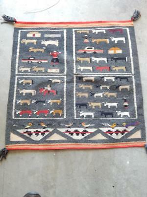 Vintage Navajo Indian Lukachukai Area 4 Square Pictorial Rug / Weaving - Nice !