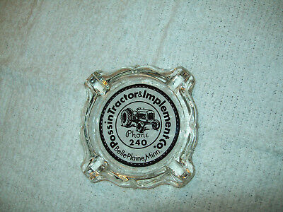MN Ford Tractor Adv Glass Ashtray Possin Tractor Implement Belle Plaine MN