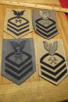 (4) Vtg WWII US Navy set CPO Rank patches Dated 1943 & 1944 Nice