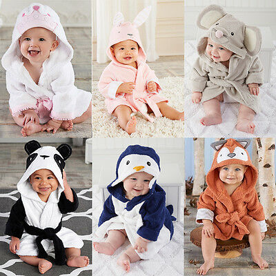 Boy Girl Animal Bathrobe Baby Hooded Bath Towel Infant Bathing Blanket UK Stock