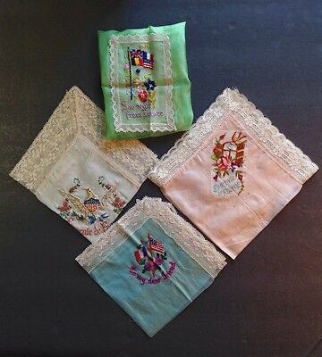 Four Colorful World War One Souvenir Kerchiefs **** (17mar32)