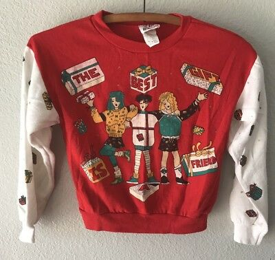 VINTAGE Children's 80s Sz 6 Ugly Tacky Christmas Friends holiday  winter sweater