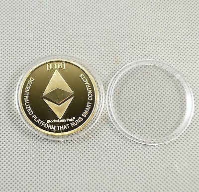 1pcs Fine Commemorative Golden Iron ETH Ethereum Miner Coin Gold Plated NB1