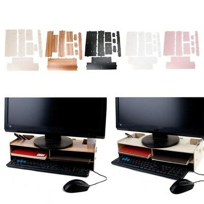 Wooden Monitor Riser TV Stand Desk Organizer Storage Space For Computer Laptop
