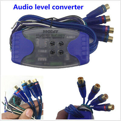 Car Stereo Speaker Wire to 4 RCA Output Line Level Converter Adaptor High/Low