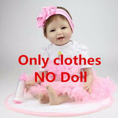 Pink Lace Dress Suitable For 22'' Reborn Baby ( Not included Doll ) Xmas gift DE