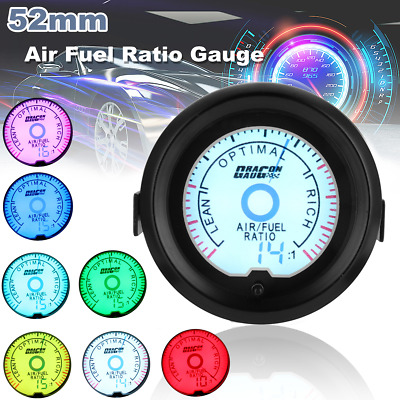 Universal 2'' 52mm 12V Air Fuel Ratio Gauge Digital Multi-color LED Car Meter