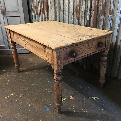 Victorian Antique Pine Scrub Top Table Drawer Vintage Shabby Chic Farmhouse
