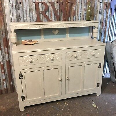 Vintage Painted Court Cupboard Welsh Dresser Shabby Chic Rustic Sideboard