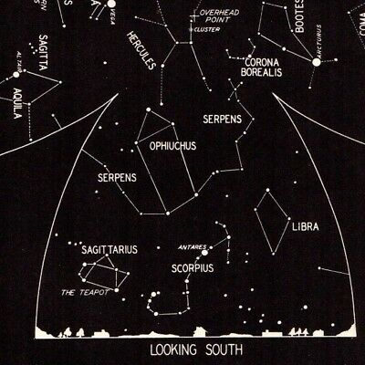 1942 July Sky STAR & CONSTELLATION Map ASTRONOMY Print Astrology Signs 4324