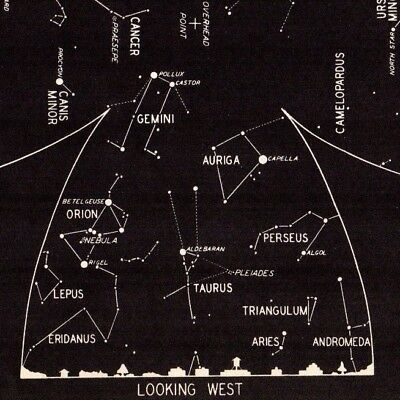 1942 March Sky STAR & CONSTELLATION Map ASTRONOMY Print Astrology Signs 4328