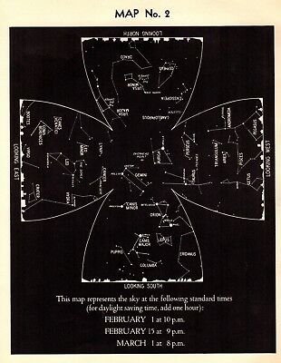 1942 February Sky STAR & CONSTELLATION Map ASTRONOMY Print Astrology Signs 4329