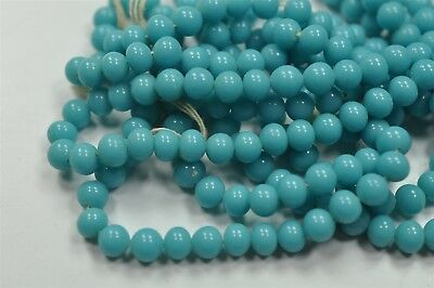 300 Cherry Brand Vintage 6mm Blue Turquoise Glass Beads, Old Haskell Stock V3644