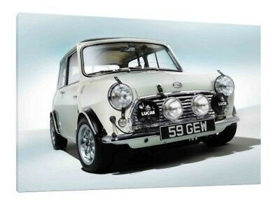 Mini Classic Cooper S - 30x20 Inch Canvas Framed Picture Print Wall Art
