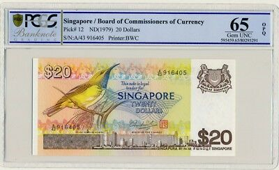 Board Of Commissioners  Of Currency Singapore  20 nd(1979)  PCGS  65OPQ