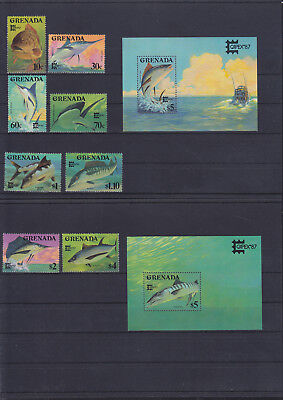 056057 Fische Fish Grenada 1608-15 + Block 185/86 ** MNH Year 1987