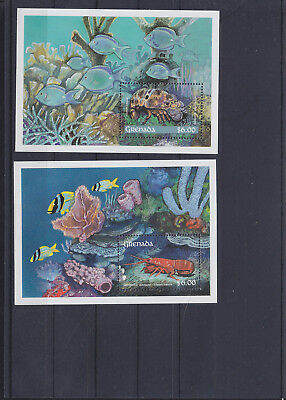 056065 Fische Fish ... Grenada Block 259/60 ** MNH Year 1990