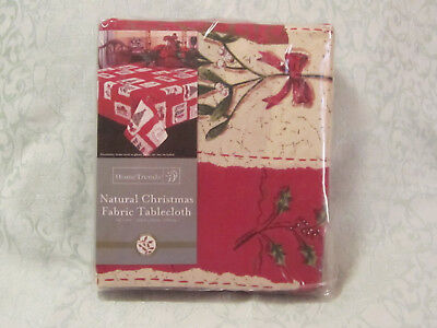 """NEW! Home Trends Natural Xmas Cotton Tablecloth 60"""" x 102"""" Oblong"""
