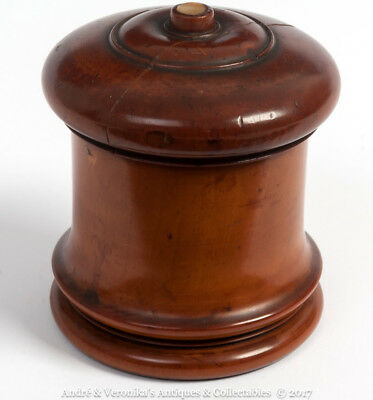 Antique Treen Lidded GINGER / SALT POT Turned Threaded Lid Maple Boxwood Vintage