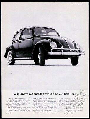 1963 VW Volkswagen Beetle photo Why Such Big Wheels 13x10 vintage print ad