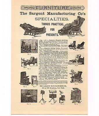 1886 Sargent Manufacturing Co. Chairs Reclining Rolling Carrying Vtg Print Ad