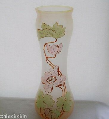 """ESSENCE of ART NOUVEAU 12.5"""" Tall GLASS VASE Colors CHANGE Awesome HAND PAINTED"""
