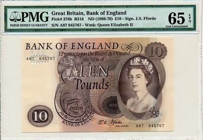 Bank  Of England Great Britain  10 Pounds nd(1966)  PMG  65EPQ