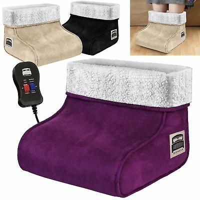 Black Electric Heated Foot Massager Comfort Warmer Fleece Suede Comfort Feet