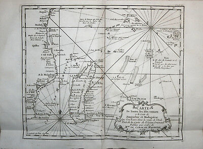 Nautical chart of Madagascar and Mozambique Channel - Bellin 1746-57