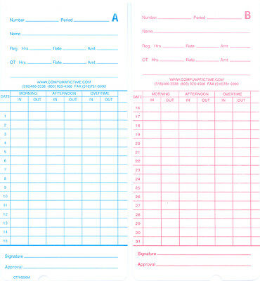 1000 MONTHLY TIME CARDS FOR THE COMPUMATIC TR220d / TR440a / TR440d / TR880d