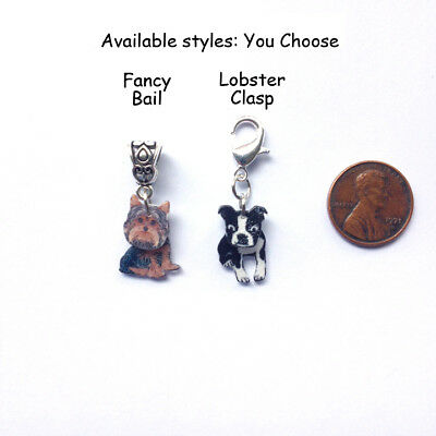 Tiny 3D Dog Breed Charms YOU CHOOSE Breed/Style Handcrafted Plastic Made in USA