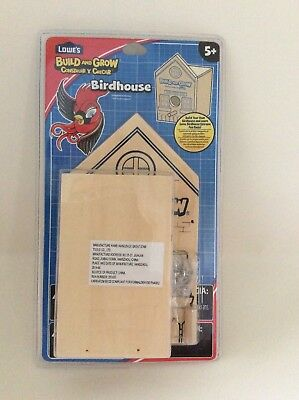 Build And Grow Birdhouse Boys/Girls Ages 5+ Lowes wood building project kids NIB